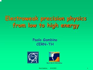 Electroweak precision physics from low to high energy