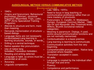 AUDIOLINGUAL METHOD VERSUS COMMUNICATIVE METHOD ( Finocchiaro and Brumfit 1983 )