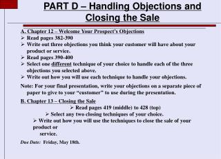 PART D – Handling Objections and Closing the Sale