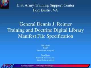 General Dennis J. Reimer Training and Doctrine Digital Library Manifest File Specification