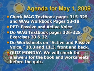 Agenda for May 1, 2009