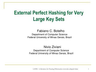 External Perfect Hashing for Very Large Key Sets