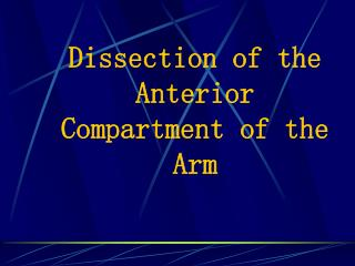 Dissection of the Anterior Compartment of the Arm