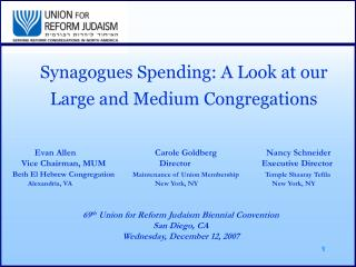 Synagogues Spending: A Look at our Large and Medium Congregations