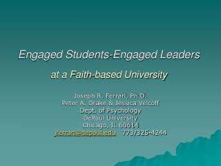 Engaged Students-Engaged Leaders  at a Faith-based University