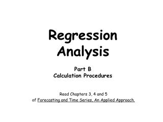 Regression Analysis Part B Calculation Procedures