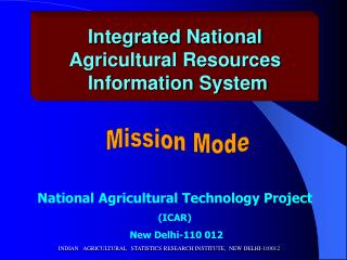 Integrated National  Agricultural Resources  Information System