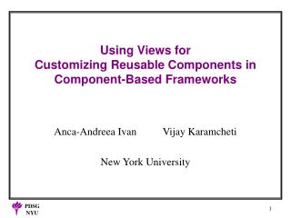 Using Views for  Customizing Reusable Components in  Component-Based Frameworks