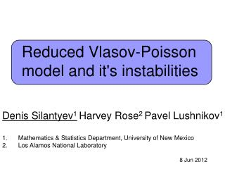 Reduced Vlasov-Poisson model and it's instabilities