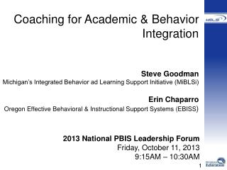 Coaching for Academic & Behavior Integration