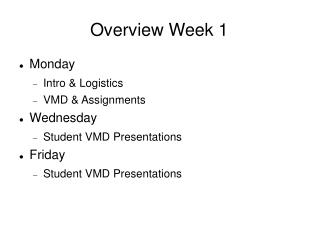 Overview Week 1