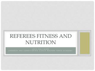 Referees Fitness and Nutrition