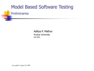 Model Based Software Testing Preliminaries