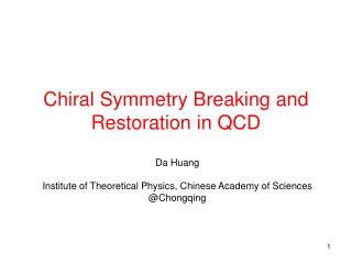 Chiral Symmetry Breaking and Restoration in QCD