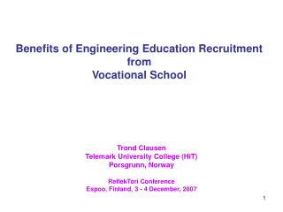 Benefits of Engineering Education Recruitment from  Vocational School