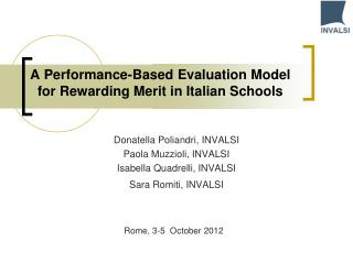 A Performance-Based Evaluation Model for Rewarding Merit in Italian Schools
