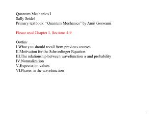 "Quantum Mechanics I Sally Seidel Primary textbook: ""Quantum Mechanics"" by Amit Goswami"