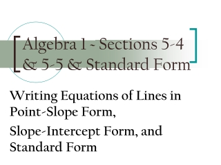 5.5 Point-Slope Form