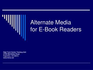 Alternate Media for E-Book Readers