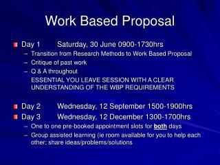 Work Based Proposal