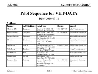 Pilot Sequence for VHT-DATA