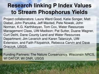 Research linking P Index Values to Stream Phosphorus Yields