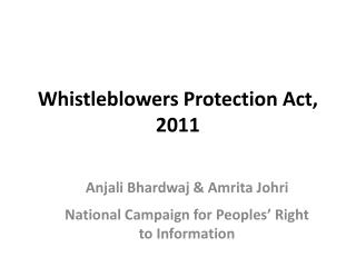 Whistleblowers Protection Act, 2011