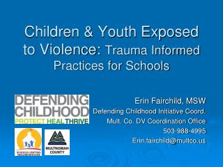 Children & Youth Exposed to Violence:  Trauma Informed Practices for Schools
