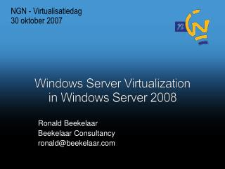 Windows Server Virtualization in Windows Server 2008