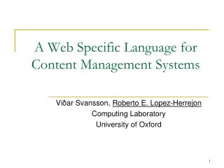 A Web Specific Language for Content Management Systems