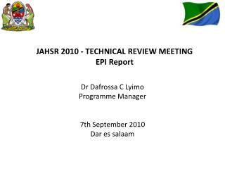 JAHSR 2010 - TECHNICAL REVIEW MEETING  EPI Report