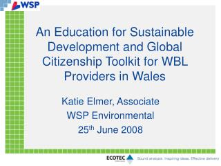 An Education for Sustainable Development and Global Citizenship Toolkit for WBL Providers in Wales
