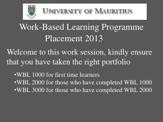 Work-Based Learning Programme