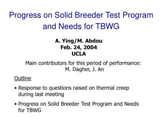 Progress on Solid Breeder Test Program and Needs for TBWG