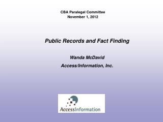 CBA Paralegal Committee November 1, 2012