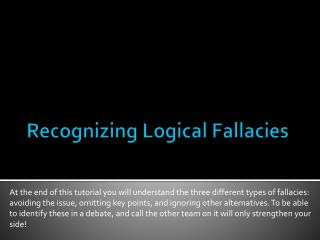 Recognizing Logical Fallacies