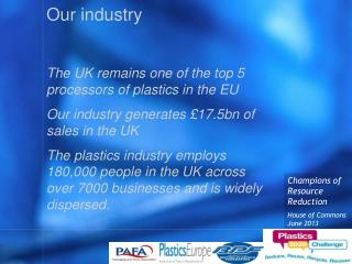 Our industry  The UK remains one of the top 5 processors of plastics in the EU