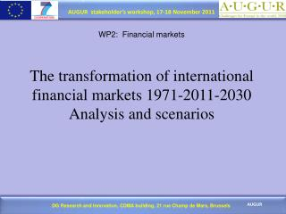 WP2:  Financial markets