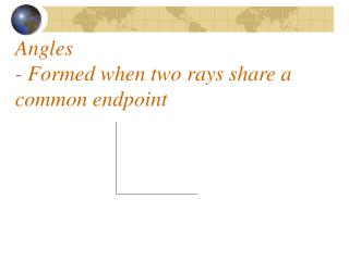Angles - Formed when two rays share a common endpoint