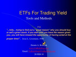 ETFs For Trading Yield