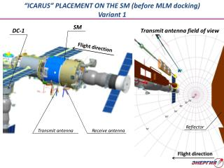 """ICARUS"" PLACEMENT ON THE SM (before MLM docking) Variant 1"
