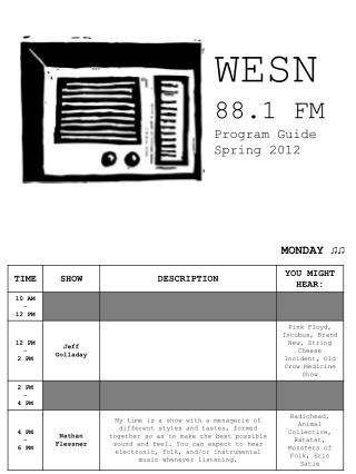 WESN 88.1 FM Program Guide Spring 2012