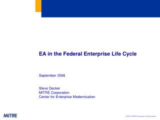 EA in the Federal Enterprise Life Cycle