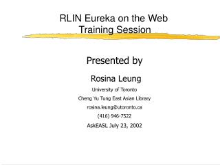RLIN Eureka on the Web  Training Session