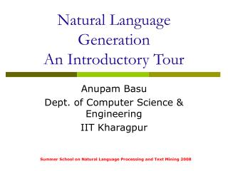Natural Language Generation An Introductory Tour