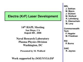 14 th  HAPL Meeting San Diego, CA August 8th , 2006 Naval Research Laboratory