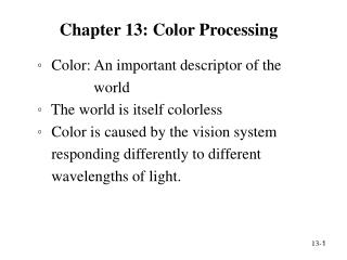 Chapter 13: Color Processing