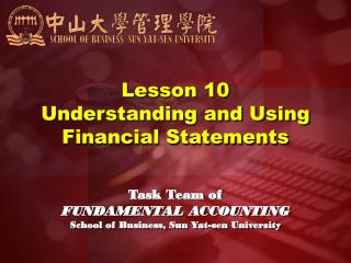 Lesson 10 Understanding and Using Financial Statements