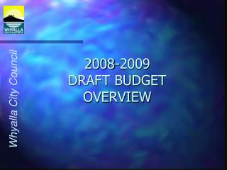 2008-2009 DRAFT BUDGET OVERVIEW