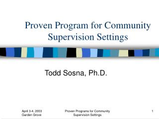 Proven Program for Community Supervision Settings